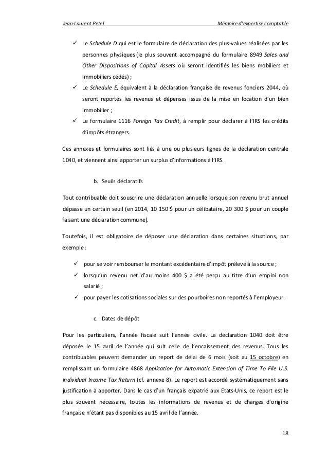 Expatriation d 39 un fran ais aux etats unis m thodologie d 39 accompagne - Declaration fiscale location meublee ...