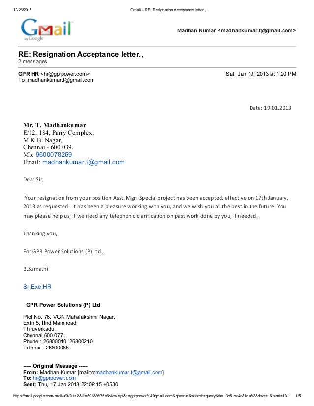 Sample Resignation Acceptance Letter From Employer Nemetas