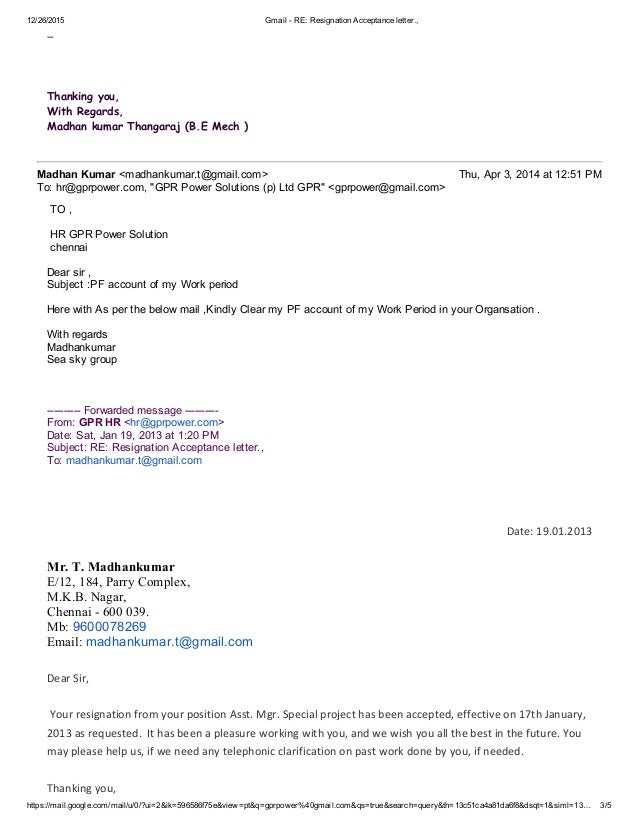 Request For Acceptance Of Resignation Letter