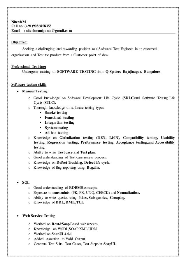 Nitesh.M Cell No :(+91)9036858358 Email : Niteshmuniganta@gmail ...  Web Services Testing Resume
