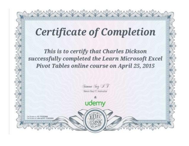 Microsoft Excel Pivot Table Ceu Certificate