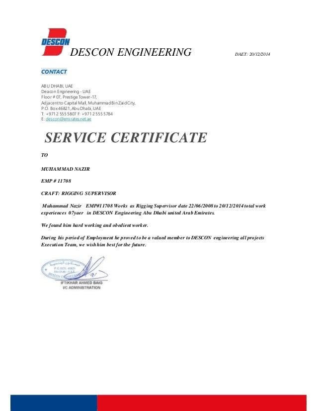 DESCON ENGINEERING DAET: 20/12/2014 CONTACT ABU DHABI,UAE Deacon Engineering -UAE Floor # 07, Prestige Tower-17, Adjacentt...