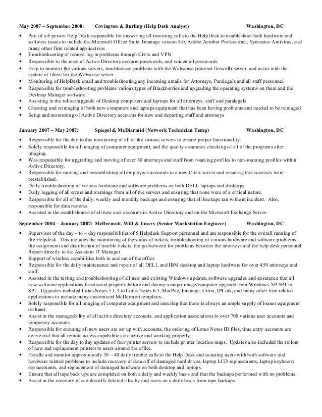 help desk technician resume