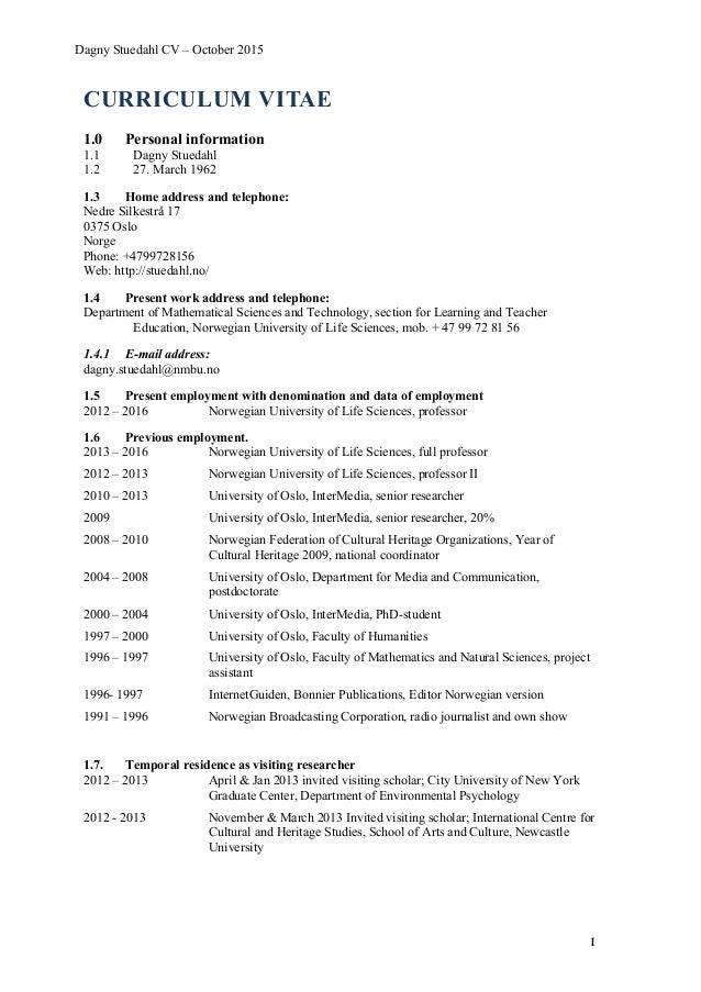 Curriculum Vitae Dagny Stuedahl October 2015