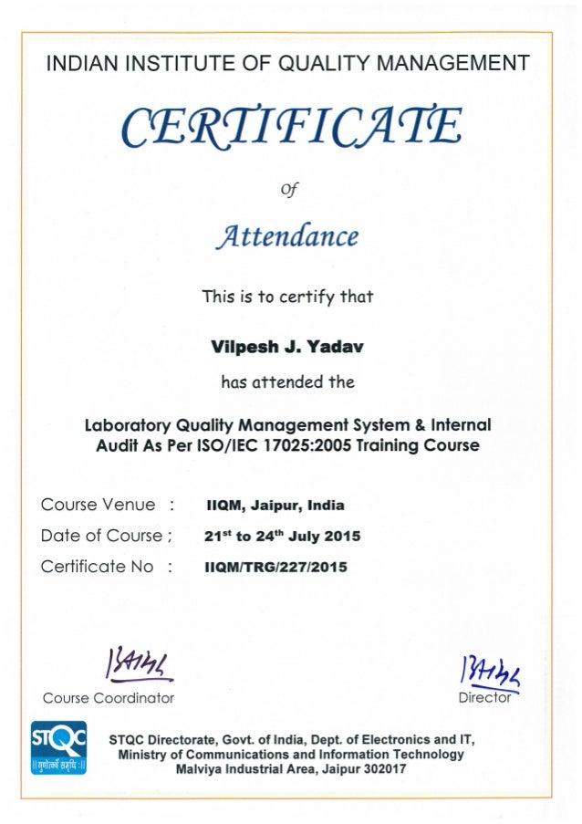 NABL Training Certificate-Jaipur