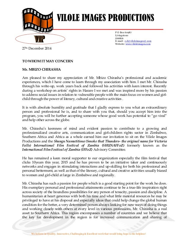 Support Letter For Mbizo Chirasha From Zambia