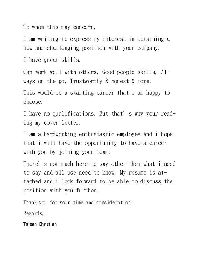 i am writing this letter to express my interest