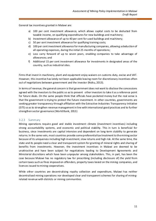 Cepa Mining Policy Implementation Report