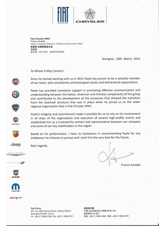 Reference Letter FCA