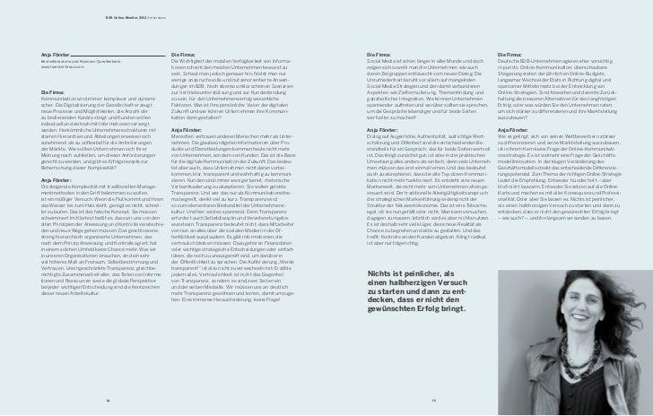 B2B Online-Monitor 2012 / InterviewsAnja Förster                                                              Die Firma:  ...