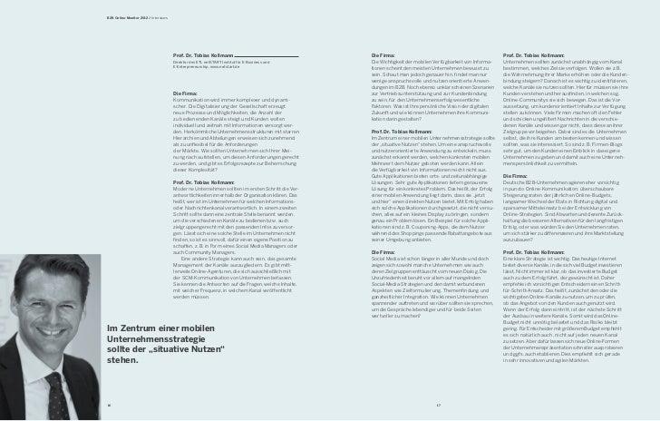 B2B Online-Monitor 2012 / Interviews                                       Prof. Dr. Tobias Kollmann                      ...
