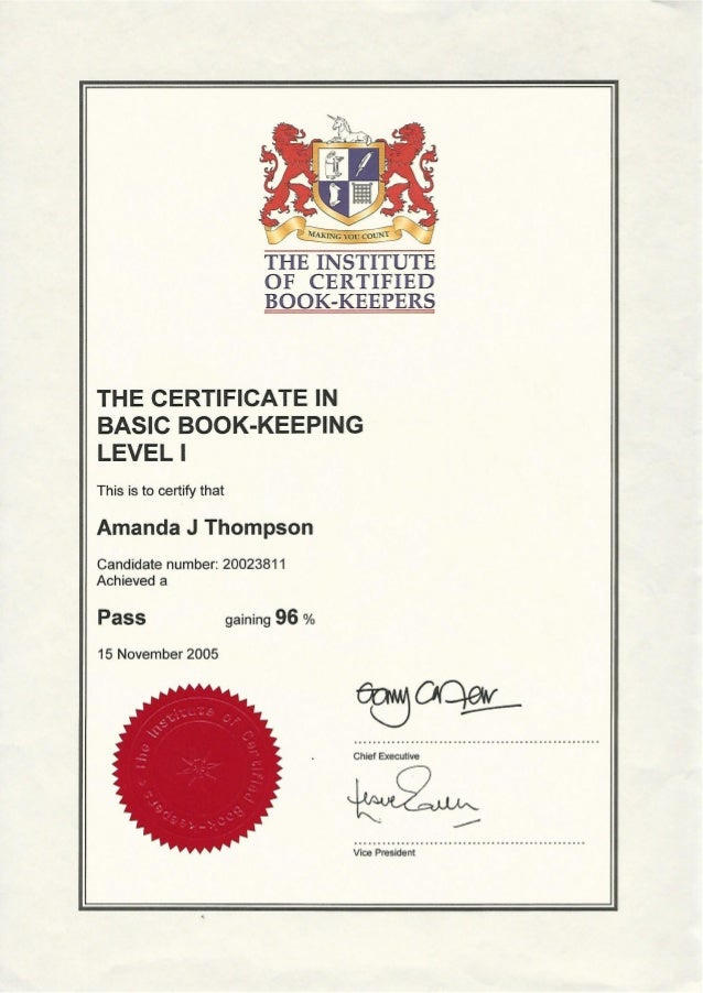 ICB Basic Bookkeeping Level 1 Certificate