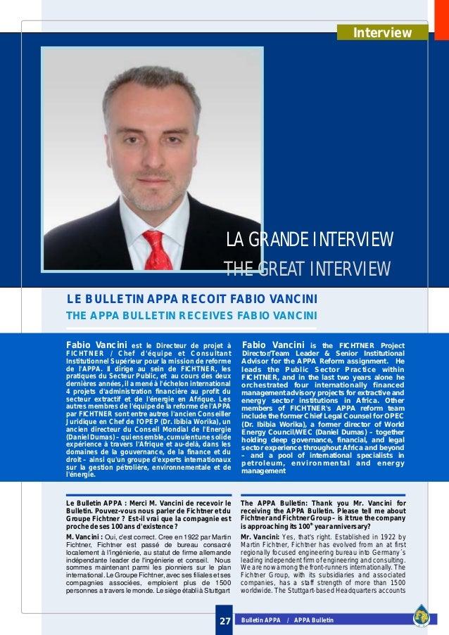 Bulletin APPA / APPA Bulletin27 LE BULLETIN APPA RECOIT FABIO VANCINI THE APPA BULLETIN RECEIVES FABIO VANCINI LA GRANDE I...
