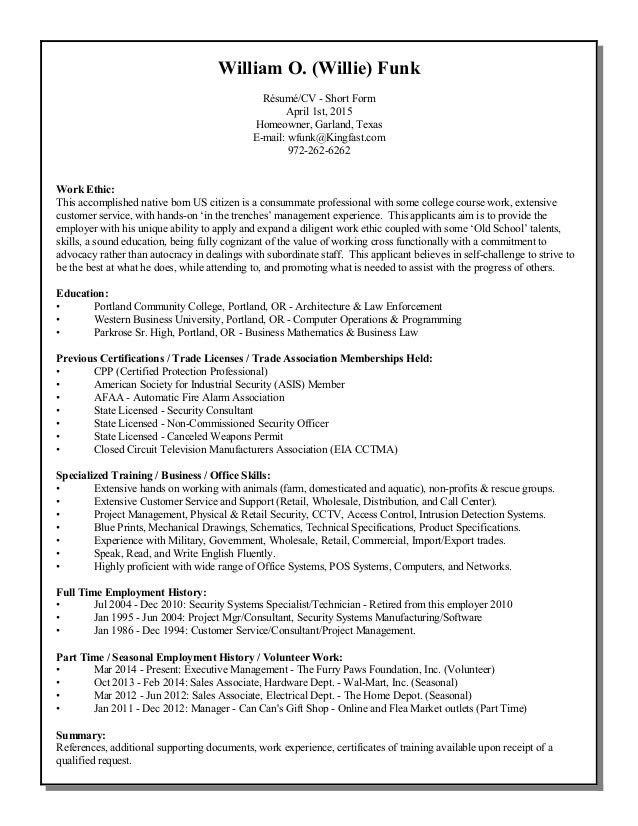 William O. (Willie) Funk Résumé/CV   Short Form April 1st,  How To Form A Resume
