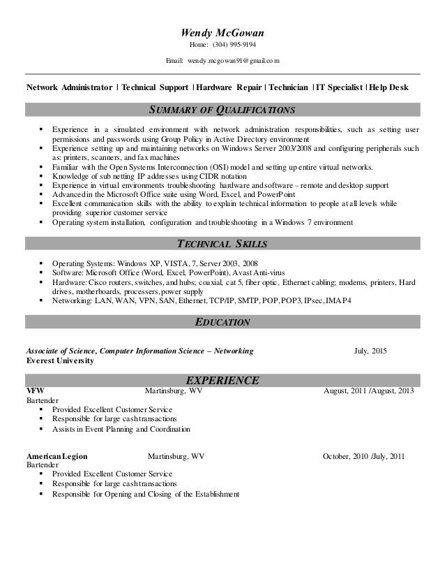 100 computer hardware and networking resume sles it