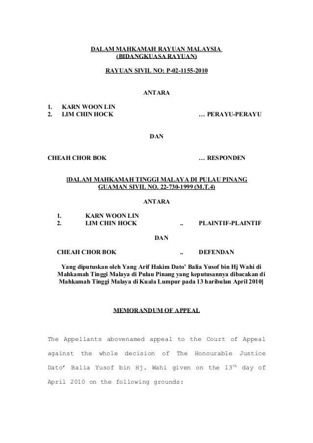 Karn Woon Lin - Memorandum Of Appeal