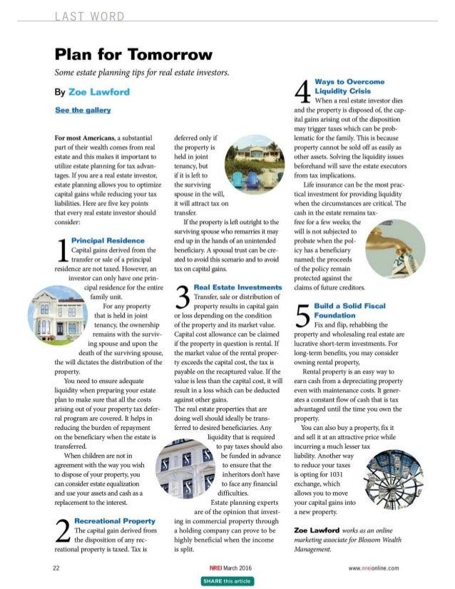 Article-Estate Planning Tips for RE Investors-Sept 2016