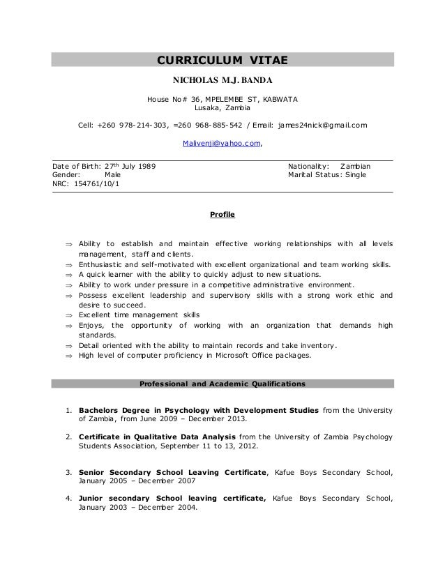 Curriculum Vitae Nicholas Mj Banda