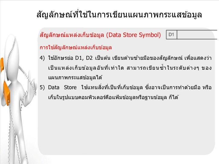 ั       ี่ ้สญลักษณ์ทใชในการเขียนแผนภาพกระแสข ้อมูล ัสญลักษณ์แหล่งเก็บข ้อมูล (Data Store Symbol)     ้ ัการใชสญลักษณ์แหล่...