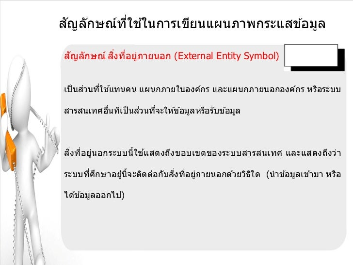 ั       ี่ ้สญลักษณ์ทใชในการเขียนแผนภาพกระแสข ้อมูล ั        ิ่ ่ ่สญลักษณ์ สงทีอยูภายนอก (External Entity Symbol)      ่ ...