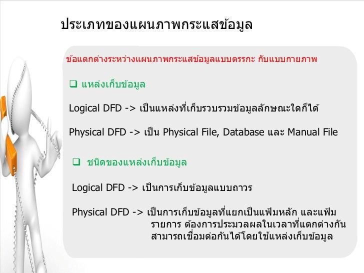 ประเภทของแผนภาพกระแสข ้อมูลข ้อแตกต่างระหว่างแผนภาพกระแสข ้อมูลแบบตรรกะ กับแบบกายภาพ  แหล่งเก็บข ้อมูล Logical DFD -> เป็...