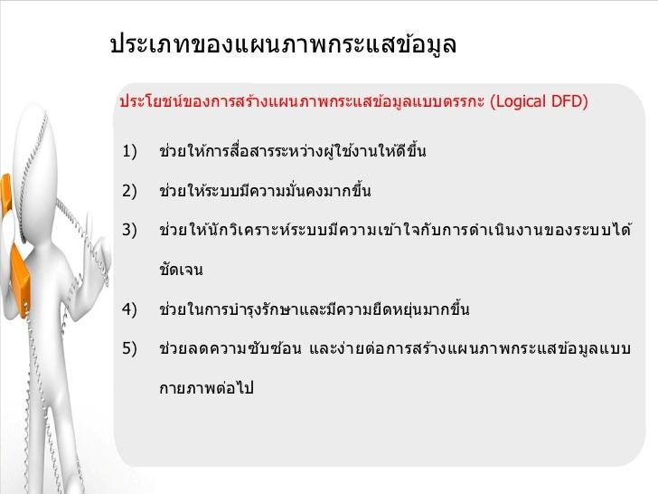 ประเภทของแผนภาพกระแสข ้อมูลประโยชน์ของการสร ้างแผนภาพกระแสข ้อมูลแบบตรรกะ (Logical DFD)1)    ่         ื่               ้ ...