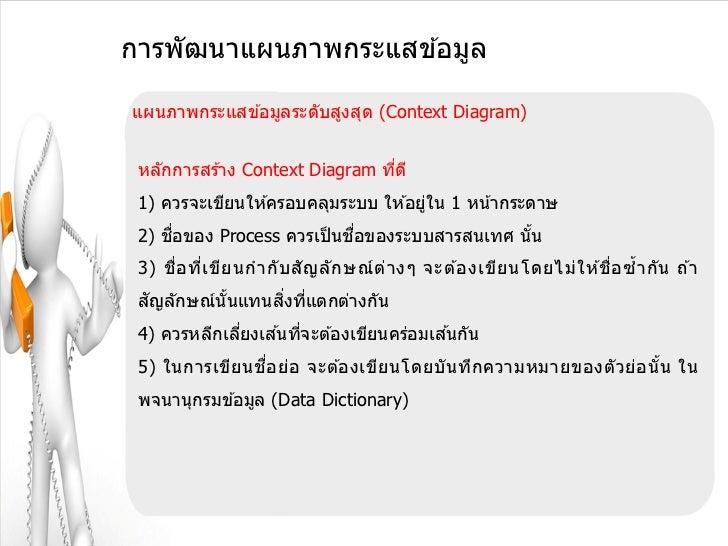 การพัฒนาแผนภาพกระแสข ้อมูลแผนภาพกระแสข ้อมูลระดับสูงสุด (Context Diagram) หลักการสร ้าง Context Diagram ทีด ี             ...