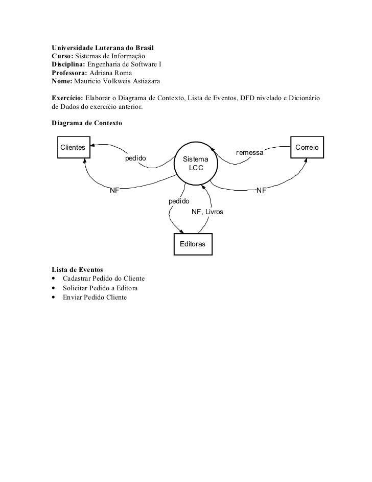 Universidade Luterana do BrasilCurso: Sistemas de InformaçãoDisciplina: Engenharia de Software IProfessora: Adriana RomaNo...