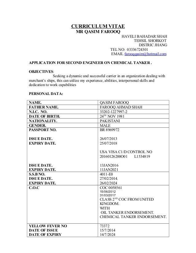 CURRICULUM VITAE MR QASIM FAROOQ HAVELI BAHADAR SHAH TEHSIL SHORKOT DISTRIC JHANG TEL NO: 03336724301 EMAIL farooqqasim@ho...