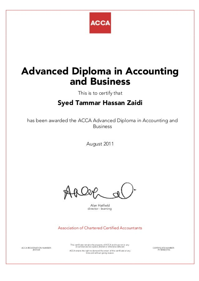 Advance Diploma In Accounting And Business Level Certification