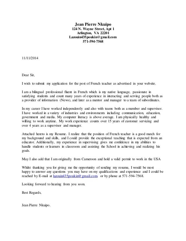 cover letter french teacher - Esl Teacher Cover Letter
