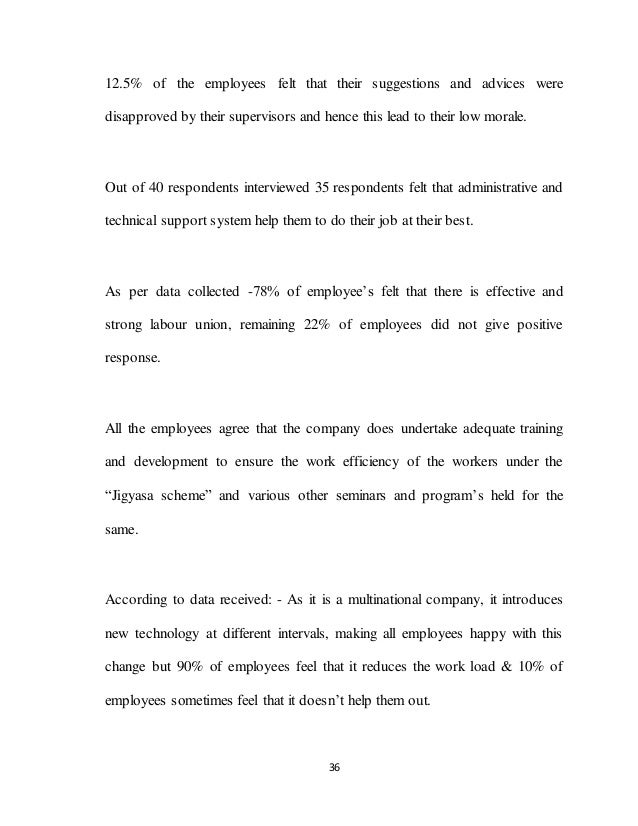 36 12.5% of the employees felt that their suggestions and advices were disapproved by their supervisors and hence this lea...