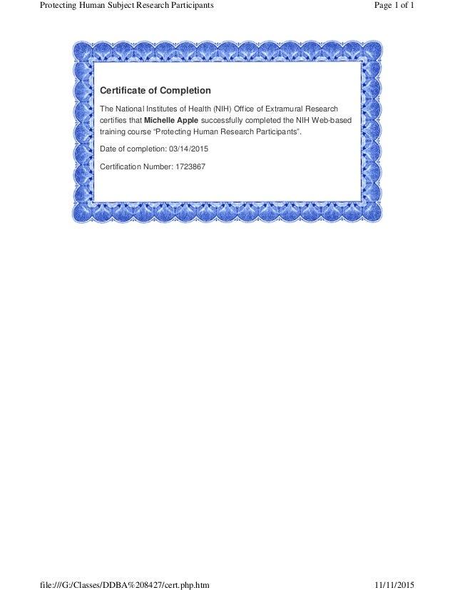 Nih Research Certificate