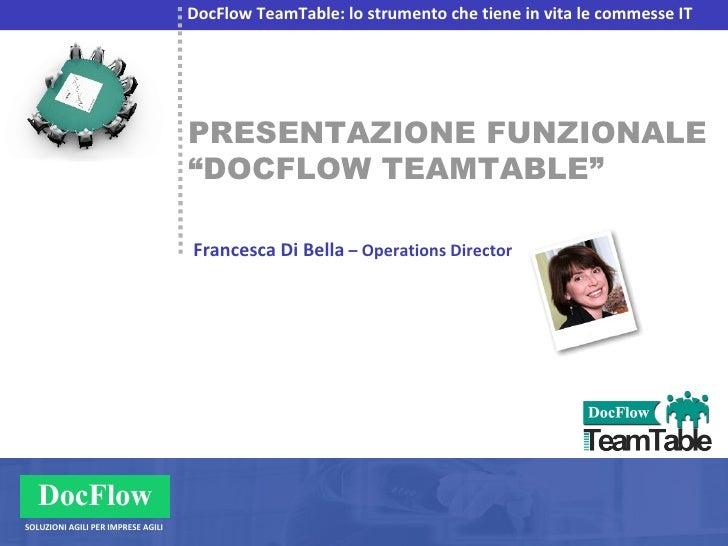 """PRESENTAZIONE FUNZIONALE """" DOCFLOW TEAMTABLE"""" DocFlow TeamTable: lo strumento che tiene in vita le commesse IT Francesca D..."""