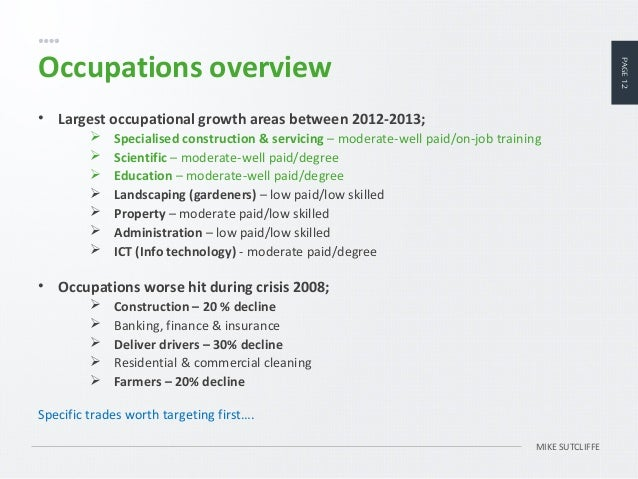 12. PAGE12 MIKE SUTCLIFFE Occupations Overview ...