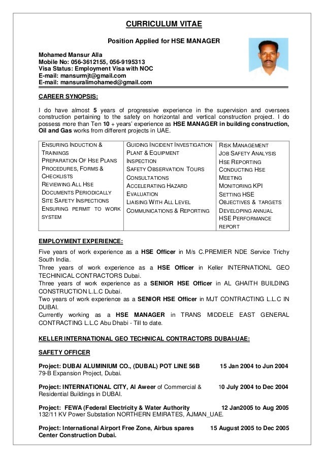 resume qhse manager