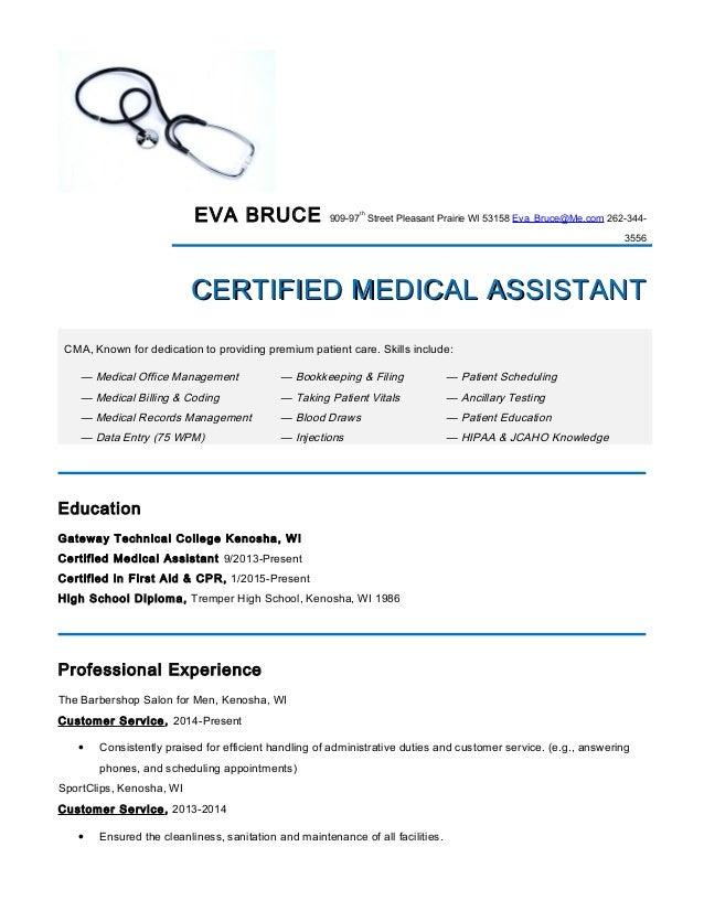 Medical Assistant Resume Eva Bruce