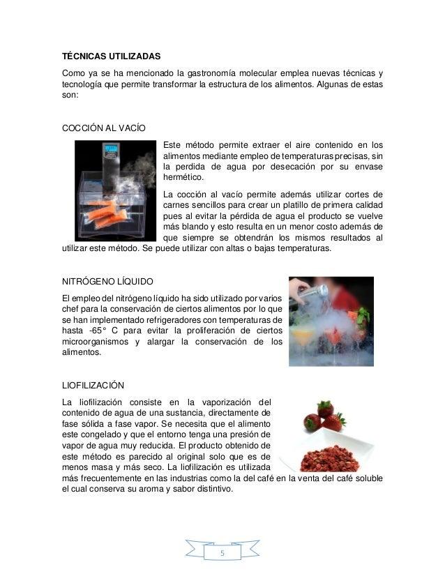 Gastronomia molecular for Tecnicas de cocina molecular