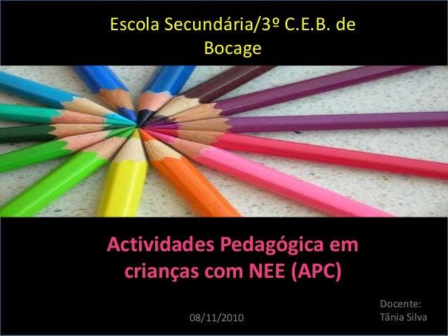 Escola Secundária/3º C.E.B. de Bocage Actividades Pedagógica em crianças com NEE (APC) Docente: Tânia Silva08/11/2010