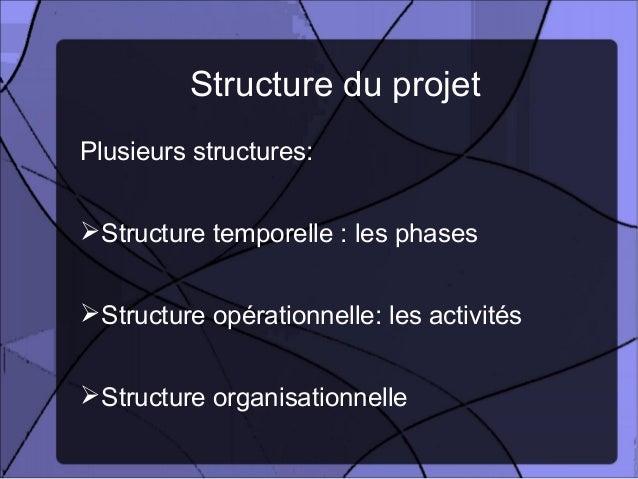Structure du projetPlusieurs structures: Structure temporelle : les phases Structure opérationnelle: les activités Stru...