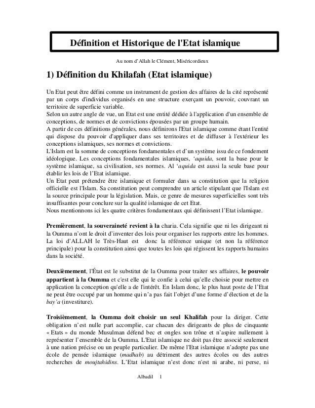 Définition et Historique de lEtat islamique                             Au nom d'Allah le Clément, Miséricordieux1) Défini...