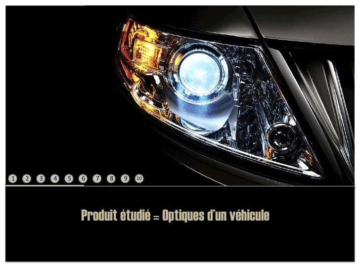 1<br />2<br />3<br />4<br />5<br />6<br />7<br />8<br />9<br />10<br />Produit étudié = Optiques d'un véhicule<br />