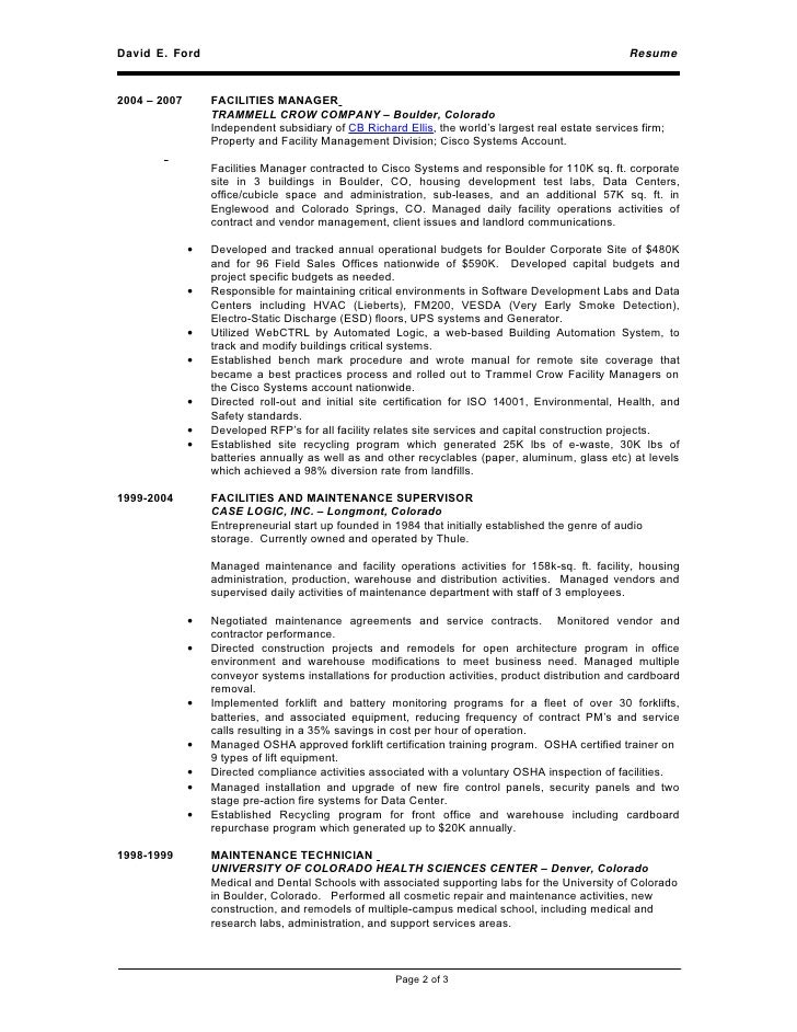 medical facility manager resume