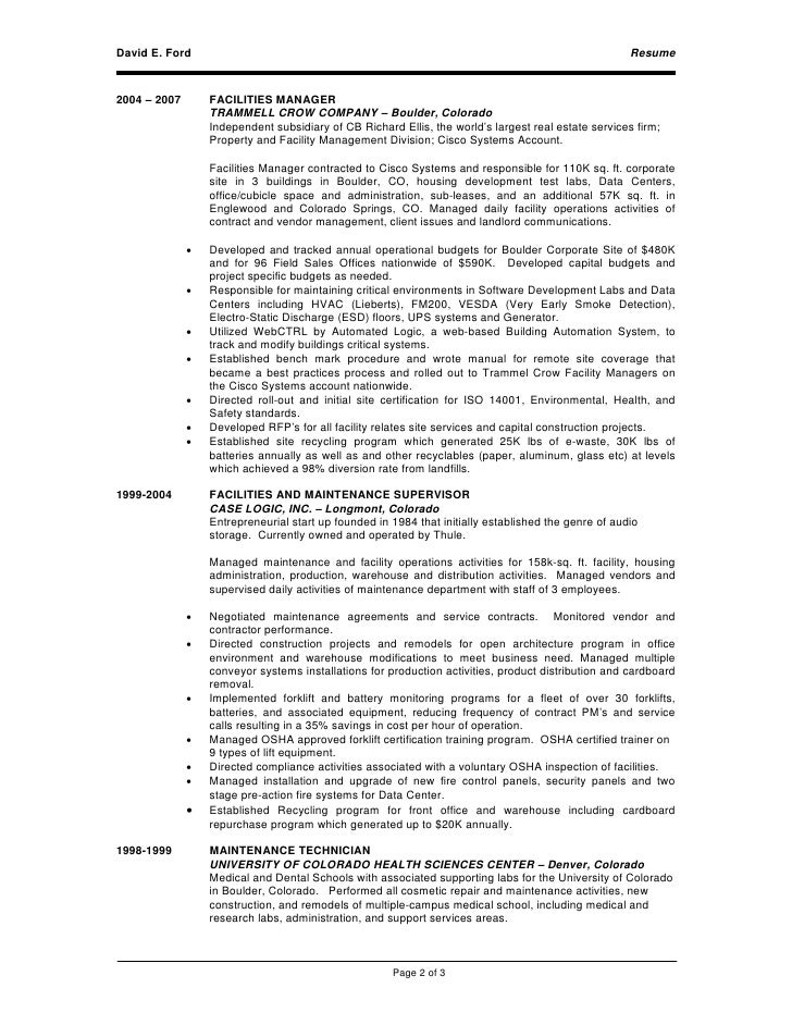 resume for facility management