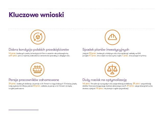 Kluczowe wnioski Dobra kondycja polskich przedsiębiorstw 44 proc. badanych uważa, że kondycja ich firm w ostatnim roku pol...