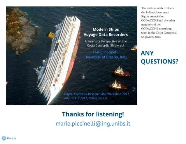 A Forensics Perspective of the Costa Concordia Shipwreck