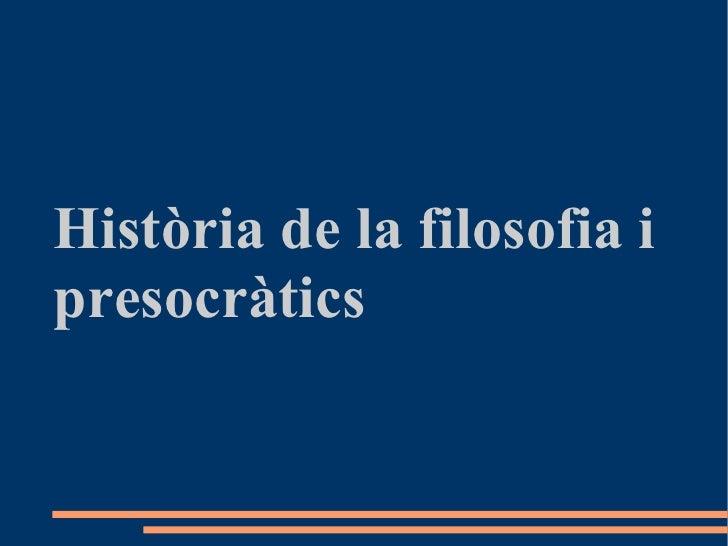 Història de la filosofia i presocràtics