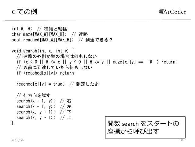 C での例 int W, H; // 横幅と縦幅 char maze[MAX_W][MAX_H]; // 迷路 bool reached[MAX_W][MAX_H]; // 到達できる? void search(int x, int y) { ...