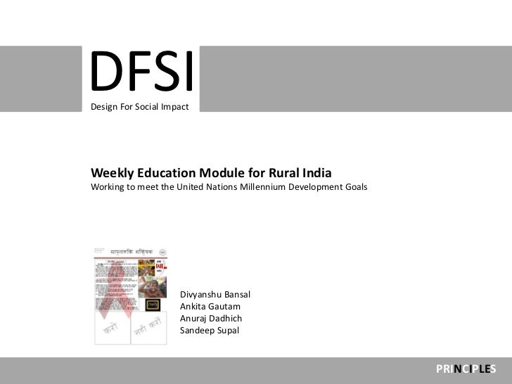 Design For Social                     ImpactDFSIDesign For Social ImpactWeekly Education Module for Rural IndiaWorking to ...