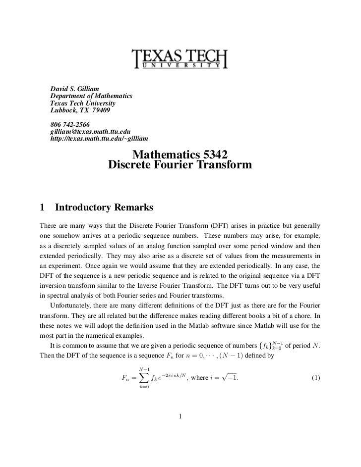 David S. Gilliam    Department of Mathematics    Texas Tech University    Lubbock, TX 79409    806 742-2566    gilliam@tex...